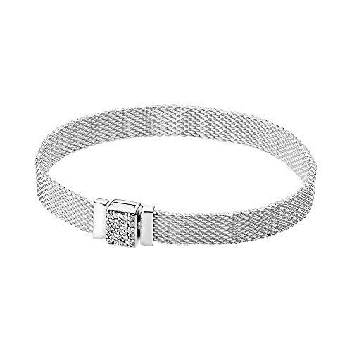 Pandora Reflexions - Pulsera de plata de ley con cierre brillante, 16 cm