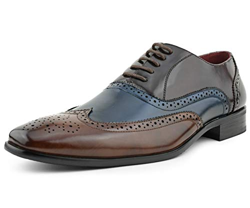 Amali Fulton - Men's Dress Shoes - Manmade Leather Wing-Tip Oxfords, Lace Up Mens Dress Shoes - Unique Perforations and Broguing - Multi Color Oxford Shoes - Brown/Navy/Burgundy, Size 15