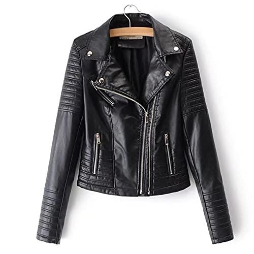 ZYLL Chaqueta de Motociclista con Cuello Vuelto para Mujer, Chaqueta básica de Piel sintética Negra para Primavera y otoño,M