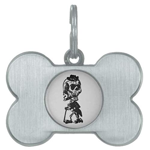 onepicebest Pet ID Tags, Personalized Dog Tags and Cat Tags, Cigar Smoking Skeleton Pet Tag, Custom Double Sides Bone Shape Puppy Tag - Stainless Steel