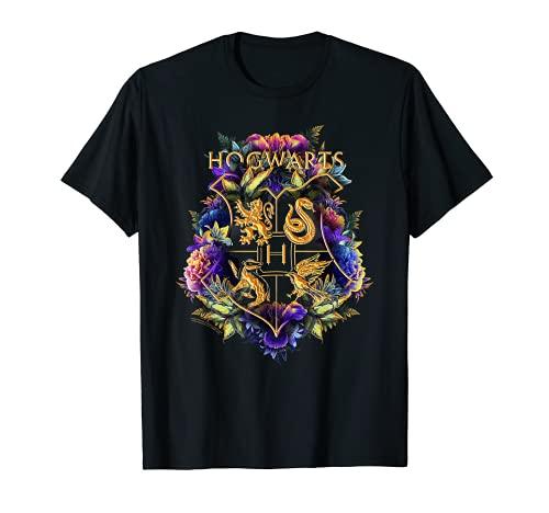 Harry Potter Hogwarts Multi-Colored Floral Crest Camiseta