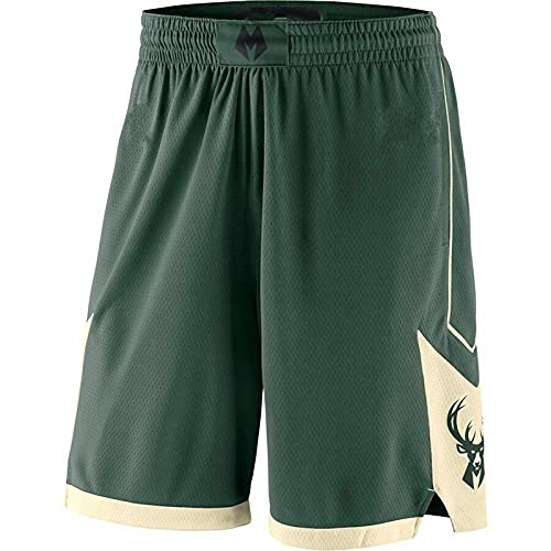 WYNBB 2021 NBA Bucks Basketball Jersey Hombres Deportes Pantalones Cortos,Verano Football Formación Jersey,Mujer Badminton Shorts de Playa,Green,L