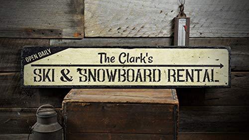 4.5X20inch Ski & Snowboard Verleih Holzschild, personalisierte offene tägliche Familie Nachname Pfeil Dekor - rustikale handgemachte Vintage Holzschild Dekoration