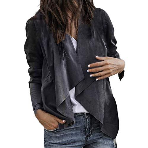 SHOBDW Damen Herbst Winter Langarm Leder Stoff Strickjacke Kurz Cardigan Anzug Jacke Arbeit Büro Mantel Bluse Frauen Einfach und Stilvoll Solid Sweatshirt