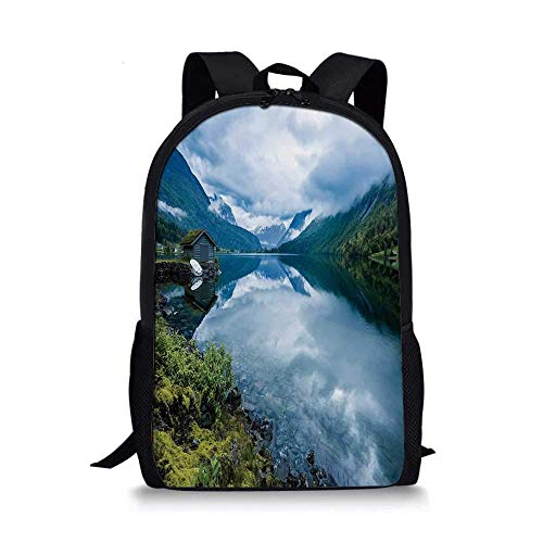 AOOEDM Backpack Nature Stylish School Bag,Landscape Photography with Wooden Cabins Clear River and Mountains Norway Europe for Boys,11''L x 5''W x 17''H