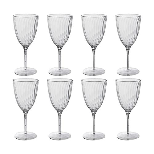 Vasos de vidrio de 240 ml para copas de vino, vasos de plástico, para fiestas en el hogar, color transparente