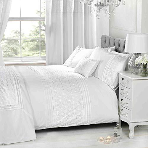 Rapport Home Just Contempo Parure de lit Simple avec Housse de Couette Motif Floral brodé Blanc