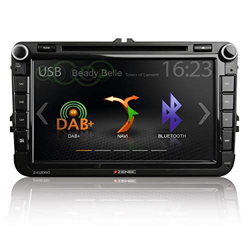 """Zenec Z-E2050: Infotainer, 2 Din Mediencenter für VW, Seat, Skoda, Multimedia mit 20,3 cm / 8"""" Touchscreen, Autoradio mit DAB+, CD/DVD, Bluetooth, zum Navi erweiterbar"""
