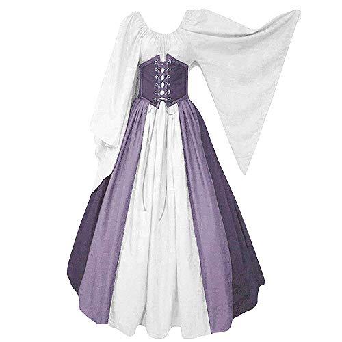 CDE Damen Vintage Lang Mittelalter Kostüm Gothic Viktorianisches Cosplay Kleid Renaissance Wirtin Maxikleid für Party Karneval (Lila und Weiß, L)