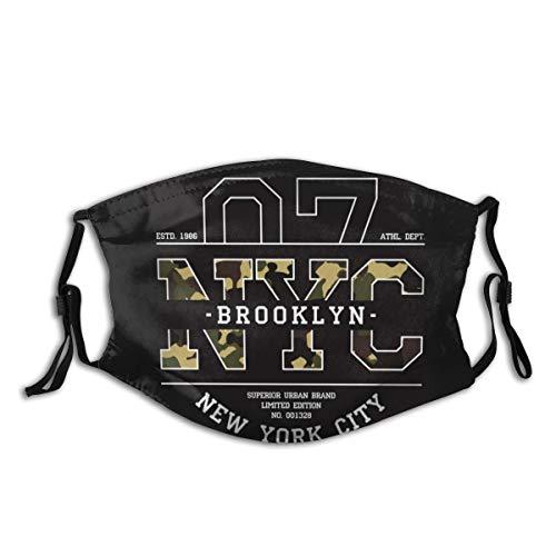 New York Nyc Staubmaske im T-Shirt-Design, Camouflage, Aktivkohle, staubdicht, Maske für Abgas, Pollenallergie, PM2.5, Laufen, Radfahren, Outdoor-Aktivitäten, M-förmiger Nasenclip + 2 Filter