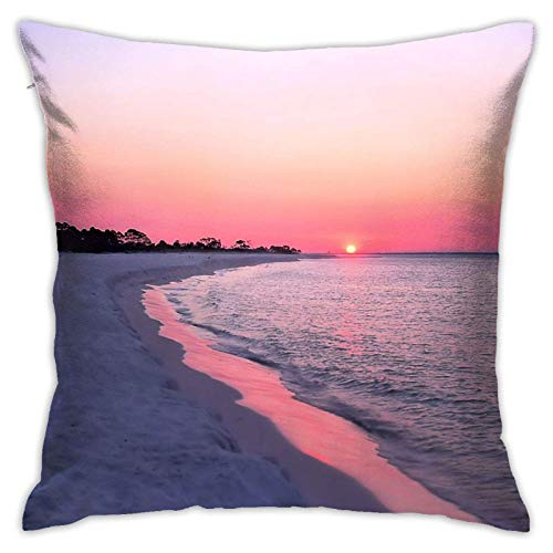 Hangdachang Panama City Beach PinkThrow Fundas de Almohada Luxury Panama City Beach Pink Funda de Almohada Cuadrada para el hogar Funda de Almohada Decorativa Estandar 18 X 18 Pulgadas Cuadradas