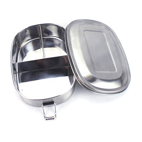Fiambrera, Acero Inoxidable Fiambrera, Contenedores de Alimentos, Apta para lavavajillas Bento de Comida Caja de Almuerzo para con Tres Compartimentos (Acero inoxidable 304)