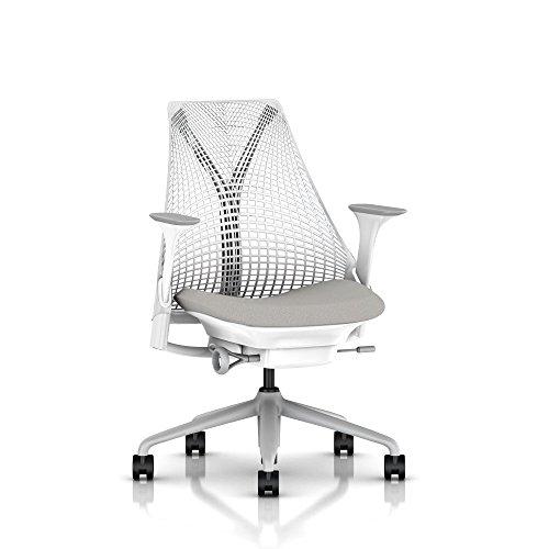 Herman Miller Sayl Task Chair: Tilt Limiter - Stationary Seat Depth - Fixed Arms - Standard Carpet Casters - Fog Base/Studio White Frame