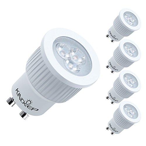 KINDEEP GU10 LED 35W Equivalent, 3W 280LM, MR11 Shape, Warm White, 120V Track Light Bulb, 4-Pack