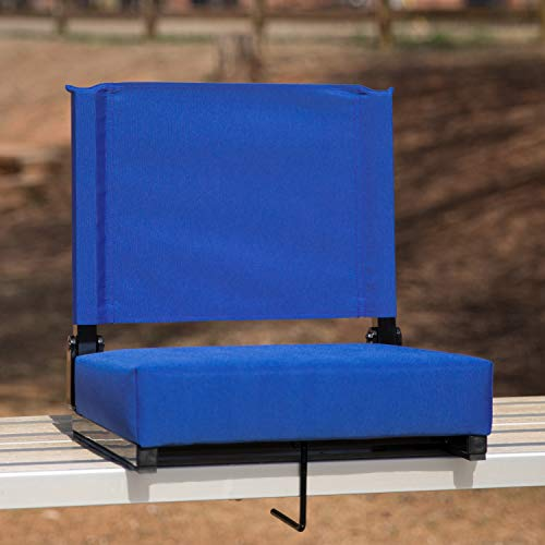 Flash Furniture Grandstand Comfort Seats by Flash - 500 lb. Rated Lightweight Stadium Chair with Handle & Ultra-Padded Seat, Blue