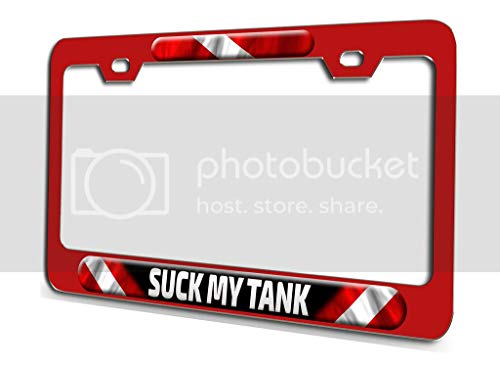 Makoroni - Suck My Tank Scuba Diving Red 3D Metal License Plate Frame Auto SUV Truck Tag Holder, f58