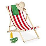 Relaxdays Sdraio Pieghevole in Legno, Sedia Colorata per Balcone Giardino Spiaggia, HxLxP: 83 x 58 x 94 cm, Bianco Rosso, 1 pz