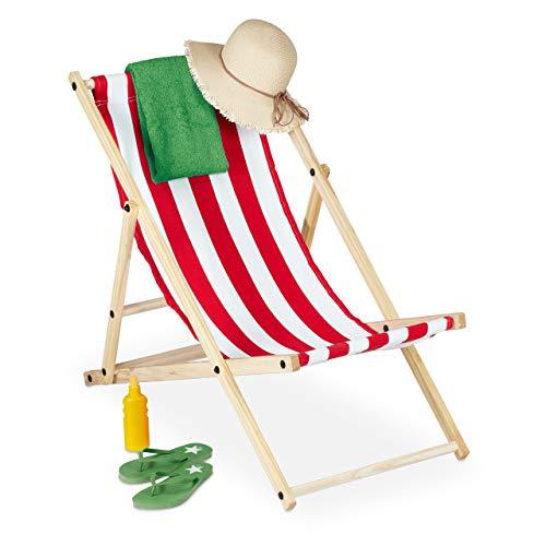 Relaxdays Liegestuhl, klappbar, Holz, 3 Stufen, Bunte Klappliege für Balkon, Garten, Strand, HBT 83x58x94 cm, weiß-rot