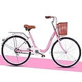 LJHSS De Las Mujeres De 24 Pulgadas City Ocio Bicicletas For Adultos, con La Bandeja, Marco De Acero De Alta Carbón del Camino del Viajero Compras (Color : Pink, Size : 24 Inches)