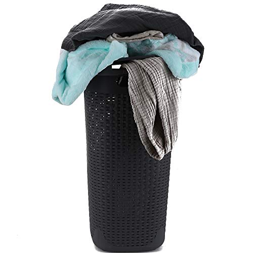 Mind Reader Basket Laundry Hamper with Cutout Handles Washing Bin Dirty Clothes Storage Bathroom Bedroom Closet 60 Liter Grey