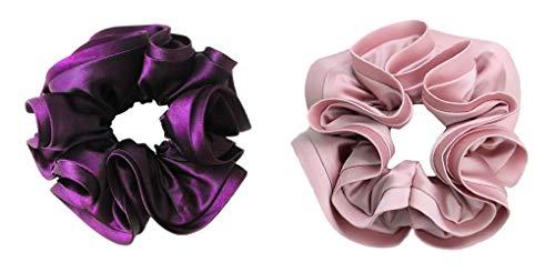 ( CandyBox ) ボリューム シュシュ 2点 セット ヘアゴム大人 きれいめ 上品 髪飾り エレガント サテン 髪留め おまとめ購入 大人っぽい (ピンク&パープル)