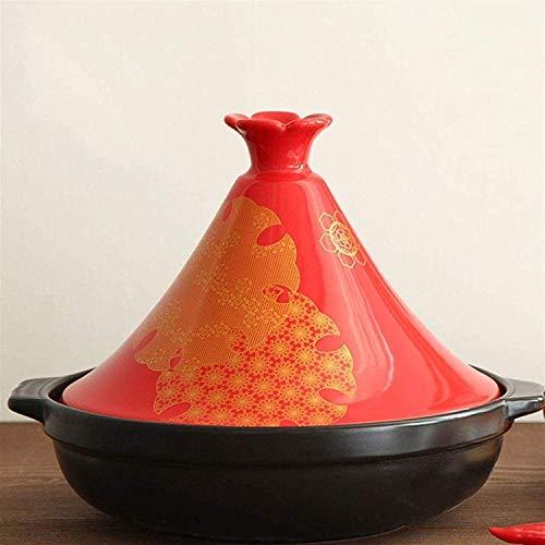 ERRWERFW Cazuela de Sopa Cacerola de cerámica Gruesa con Base de Hierro Fundido y Tapa de Embudo de gres para Todos los Tipos de Placa de cocción Base de 6.3 Pulgadas (Color: Rojo)