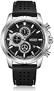 Megir MN2101-3 Silicone Round Analog Watch for Men -black silver