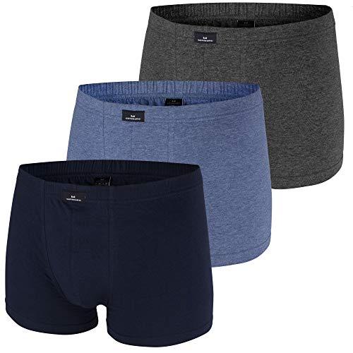 Götzburg® Sparpacks! 3er Pack Pants, Boxershorts, Shorts, Unterhosen, Unterwäsche, schwarz, weiß, Neu (XL, Navy / grau Melange / blau Melange)