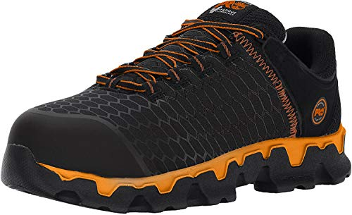 Timberland PRO Men's Powertrain Alloy Toe Black Synthetic/Orange Boot