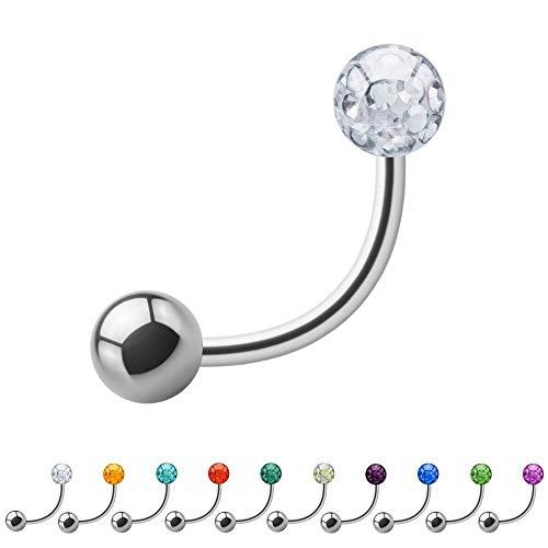 Treuheld® | 1.2mm x 5mm Piercing Banane Silber | 3mm Kristall Kugel + 3mm Stahl Piercingkugel | Klar - Transparent | Chirurgenstahl | Nabel, Intim