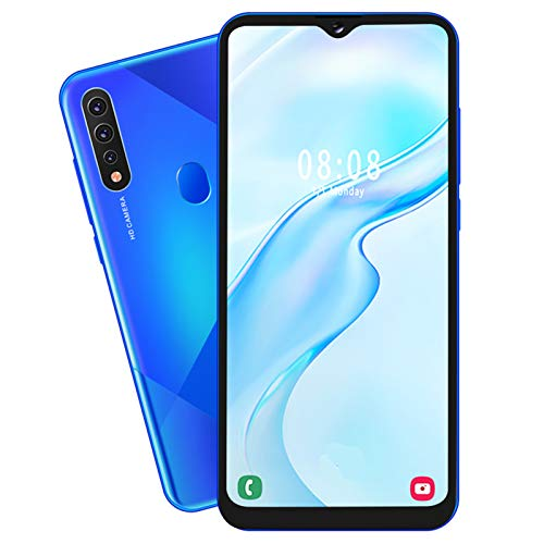 Mobile Phone MIQOO A81 Blue Metal 6,7-Zoll-Drop-Screen-Fingerabdruck Gesicht Entsperren Sie Zwei Karten Dual-Standby-Smartphone 6 + 64G Mit 128G-Speicherkarte 100-240VAU-Stecker