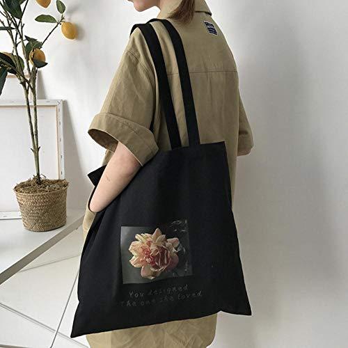 ARR Shopping Bag Grote Capaciteit Aardbei Rose Print Schoudertas Doek Stof Boeken Handtas Grote Tas Voor Meisjes Zwart