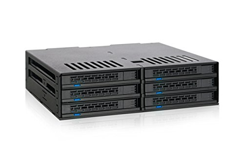 ICY DOCK Wechselrahmen für 6X 2,5 Zoll (6,4cm) SATA/SAS SSD/HDD in 1x 5,25 Zoll (13,3cm) ExpressCage MB326SP-B