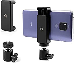 SHOPEE Cell Phone Holder Clip and Ball Head Adapter Set for Tripod and Selfie Stick with 1 4 Screw Universal Tripod Mount Camera Tripod Ball Head 360 Degree Swivel Cell Phone Tripod Mount Set