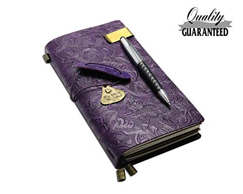 Refillable Handmade Traveler's Notebook, Leather Travel Journal Vintage Notebook with Ballpoint Pen for Men & Women, Perfect for Writing, Gifts, Travelers, Standard Size 8.5' x 4.5' Inches - Purple