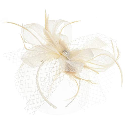Sijux Bandeau Fascinator Elegant Feather Mesh Gown Party Big Circular Hats Banquet Bridal Gauze Headdress,White