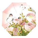 WHBGKJ Parapluie Belles Roses Roses et Papillon Parapluie Pluie Femmes Trois Cadeau Pliant Parapluies Coupe-Vent Automatique Portable Parapluie Voyage A l'abri de la Pluie (Color : Rose Umbrella)