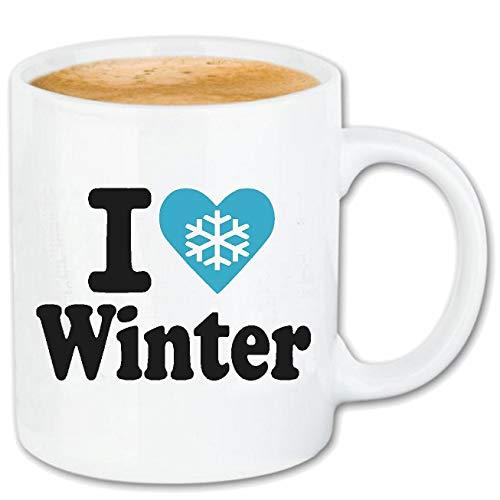 Reifen-Markt Kaffeetasse I LOVE WINTER - SCHNEE - EIS - SCHNEEBALLSCHLACHT - GLÜHWEIN Keramik 330 ml in Weiß