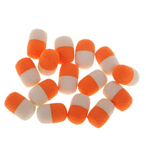 Y&C 15Pcs/Box Carp Floating Fishing Beads Smell Lures Boilies Carp Bait Floating Very Easy to Attract Fish - Orange and White