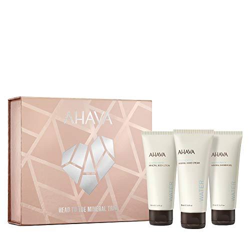 AHAVA Head To Toe Mineral Trio Value Set |Dead Sea Mineral Hand Cream, Body Lotion & Shower Gel 100 ML / 3.4oz Each, 3 ct.