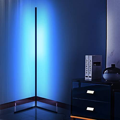 PaNt Golvlampa med fjärrkontroll/APP-kontroll modern minimalistisk stil vardagsrum dekoration RGB färgändrande stående lampa skapar atmosfär, för vardagsrum sovrum spelrum, svart