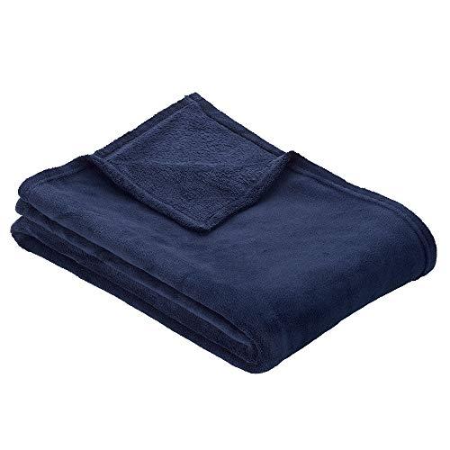 Ibena Olbia Kuscheldecke dunkelblau, Flauschdecke 150x200 cm, einfarbige Decke aus hochwertigen Polyesterplüsch