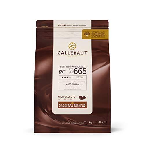 CALLEBAUT Receipe No. 2665 - Kuvertüre Callets, Vollmich Schokolade gleichmäßige cremige Milchschokolade mit Karamellnote, 32,9 % Kakao, 2500 G - 1er Pack