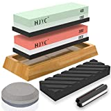 Knife Sharpening Stone Set,Professional 400/1000 Grit Whetstone,3000/8000 Grit Waterstone,Flattening Stone,Axe Sharpening Puck,Non-slip Bamboo Base and Angle Guide,Whetstone Set,Knife Sharpeners Best.