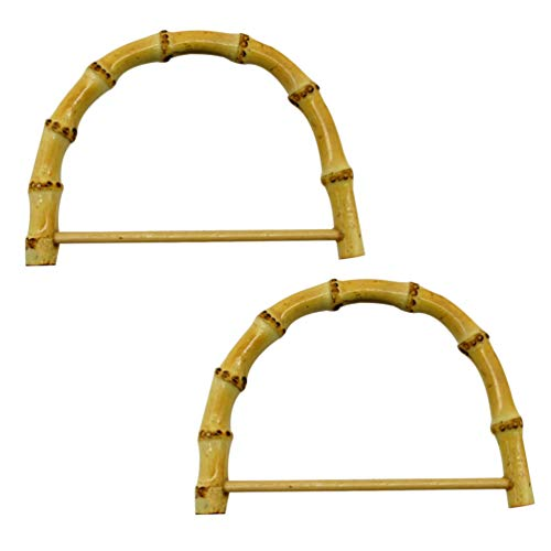EXCEART 2 Piezas de Bolsas de Bambú con Asas de Madera para Bolsos Hechos a Mano para Bolsas de Playa de Reemplazo de Bricolaje