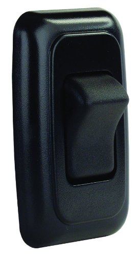 JR Products 12225 Black Single SPST On-Off Switch with Bezel