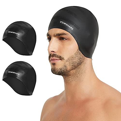 Vorshape Unisex Swim Caps Cover Ears (2 Pack), Flexible Silicone Swimmer Caps for Long Hair Swimming, 3D Ergonomic Fit for Man & Women, Black&Black