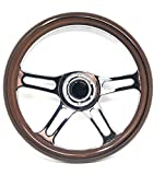 Wood Boat Steering Wheel W/Adapter 3 Spoke Boats With A 3/4' Tapered...