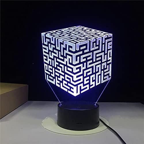 Laberinto Cubo De Rubik Illusione Tocco Colorato Luce Notturna 3D Regalo Di San Valentino 3D Luce Notturna Notturna A Visione Stereo Proposta Luce Notturna 3D