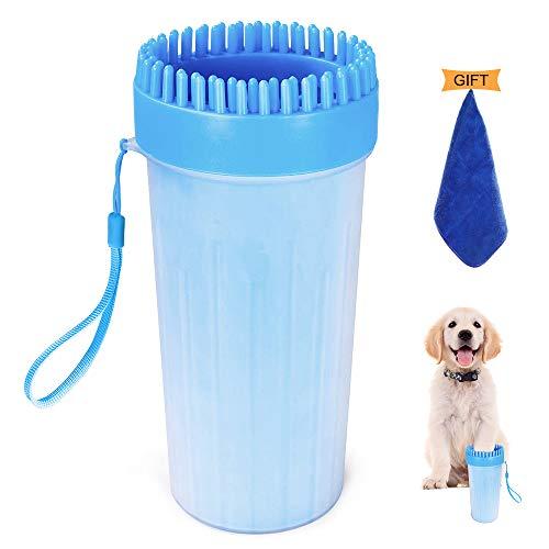 Hunde Pfotenreiniger 2 in 1 Upgrade Hunde Pfote Reiniger Tragbar mit Handtuch Mikrofaser Sanfte Reinigungsbürste für Haustier Normale und Große Pfoten (Groß)